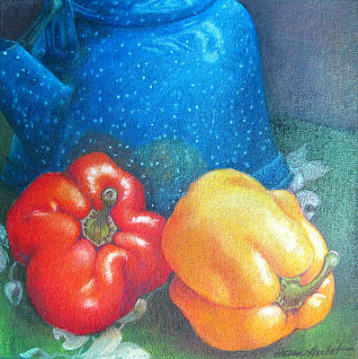 Pepper Painting - Blue Kettle With Peppers by Susan Herbst