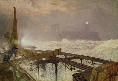 Mist Painting - Blue Lights - Teignemouth Pier by Alfred William Hunt