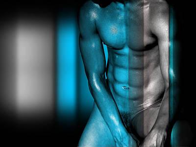 Nude Digital Art - Blue Man by Mark Ashkenazi