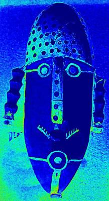 Woodcarving Photograph - Blue Man Ungrouped by Randall Weidner