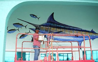 Blue Marlin Motors Mural Print by Carey Chen