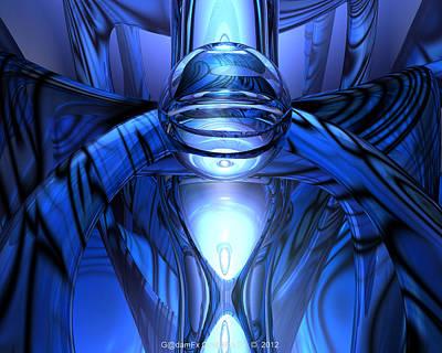 Abstract Digital Art - Blue Octopus Fx  by G Adam Orosco