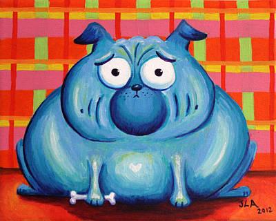 Fat Dog Painting - Blue Pudgy Pug by Jennifer Alvarez