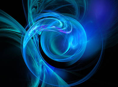 Abstract Digital Art - Blue by Ricky Barnard