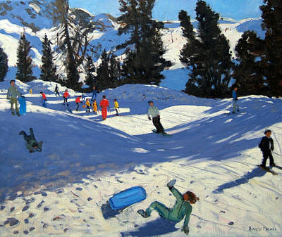 Snowboarding Painting - Blue Sledge by Andrew Macara