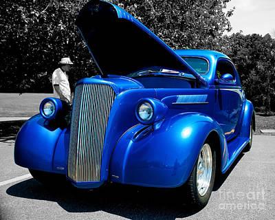 Car Show Photograph - Blue Street Rod Bw by Mark Dodd
