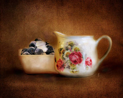 Antique Photograph - Blueberries And Cream by Jai Johnson