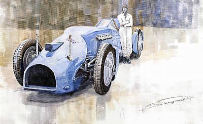 Campbell Painting - Bluebird 1933 Daytona Malkolm Campbell by Yuriy  Shevchuk