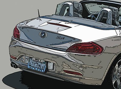 Bmw Z4 Rear Study Print by Samuel Sheats