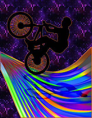 Bmx On A Rainbow Road  Print by Elaine Plesser