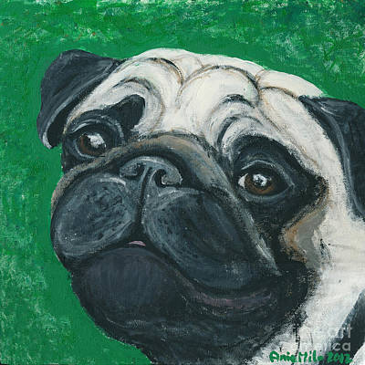Fawn Pug Painting - Bo The Pug by Ania M Milo