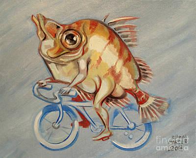 Cycles Painting - Boar Fish Biker by Ellen Marcus