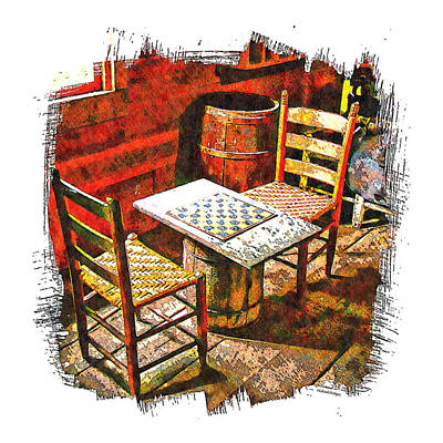 Ladder Back Chairs Photograph - Board Games by Michael Hodges