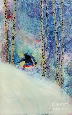 Snowboarder Painting - Boarder In Silverbirches  by Sara Pendlebury