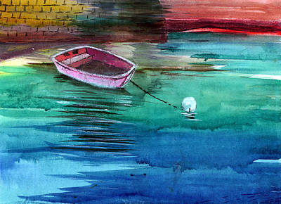 Christmas Holiday Scenery Painting - Boat And The Buoy by Anil Nene