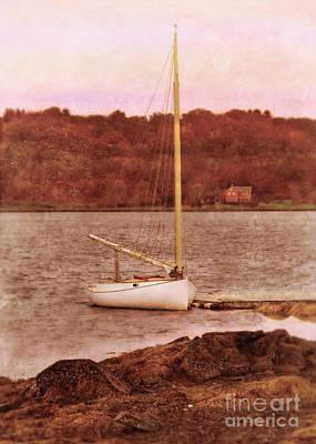 Boat Docked On The River Print by Jill Battaglia
