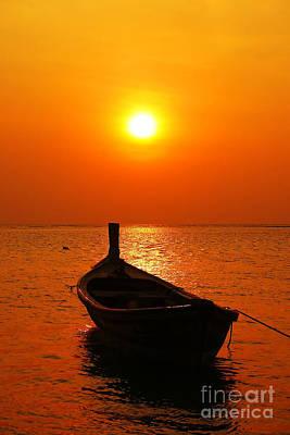 Boat In Sunset  Print by Anusorn Phuengprasert nachol