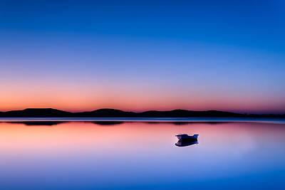 Boat In Sunset Print by Gert Lavsen
