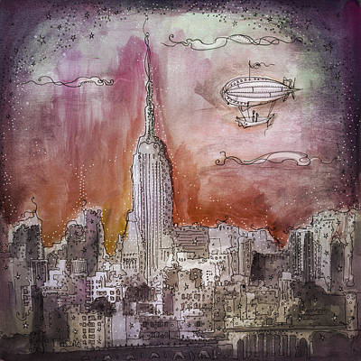 Empire State Building Drawing - Boat Over The City by Deniz Ercelebi