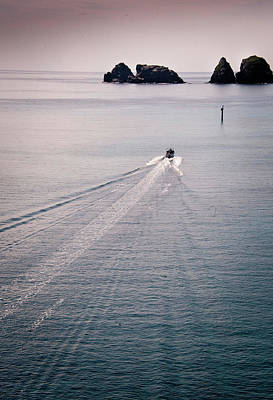 Boat Trail In Sea Print by photo by Aum