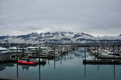 Boats In Marina With Snow Capped Print by Jorge Fajl