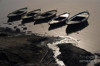 Cremation Ghat Photograph - Boats In The Ganges by Serena Bowles