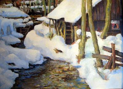 Winter Sports Painting - Bodental Muehle by Alfons Niex