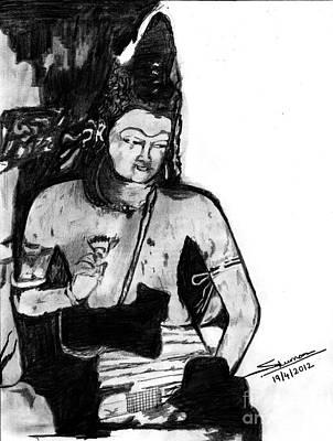 Shashi Kumar Drawing - Bodhisatva Ajantha Cave Painting by Shashi Kumar