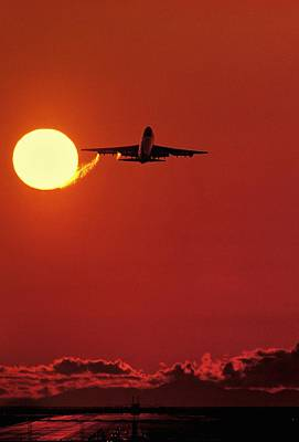 Boeing 747 Taking Off At Sunset Print by David Nunuk