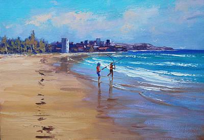 Sand Dunes Painting - Bondi Beach Fishing by Graham Gercken