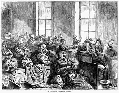 Sermon Photograph - Bored Congregation, 1872 by Granger
