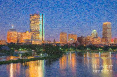 Boston Night Skyline Impasto Print by Clarence Holmes