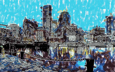 Waterscape Painting - Boston Skyline by Dean Wittle