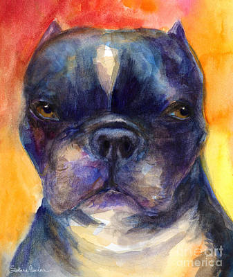 Boston Terrier Dog Portrait Painting In Watercolor Print by Svetlana Novikova