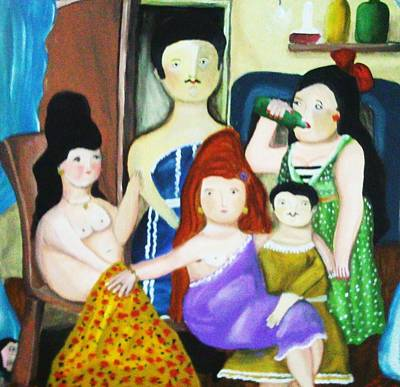 Reflection Harvest Painting - Botero Style Family by Vickie Meza