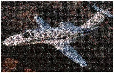 Bottle Cap Cessna Citation Mosaic Print by Paul Van Scott