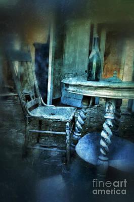 Bottle On Table In Abandoned House Print by Jill Battaglia