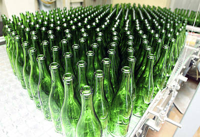 Bottles At A Wine Bottling Factory Print by Ria Novosti