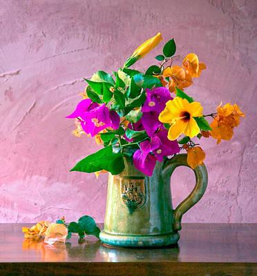 Colourfull Photograph - Bougainvilleas In A Green Jar. Valencia. Spain by Juan Carlos Ferro Duque