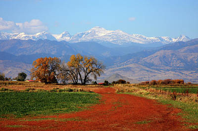 Boulder County Colorado Landscape Red Road Autumn View Print by James BO  Insogna