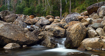 Boulders On The River Print by Mark Lucey