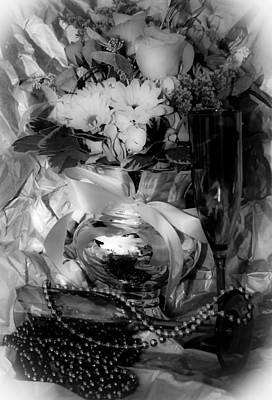 Bouquet And Beads Bw Print by DigiArt Diaries by Vicky B Fuller