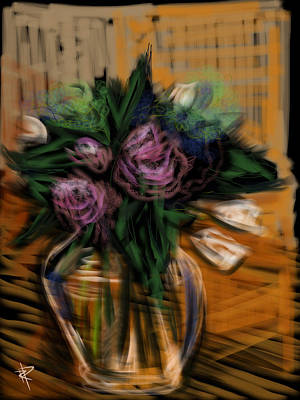 Glass Table Reflection Mixed Media - Bouquet by Russell Pierce
