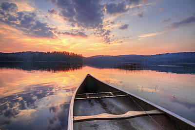 Y120817 Photograph - Bow Of Canoe On Lake At Sunset by Matt Champlin