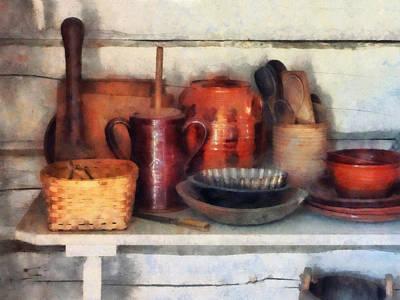 Bowls Photograph - Bowls Basket And Wooden Spoons by Susan Savad