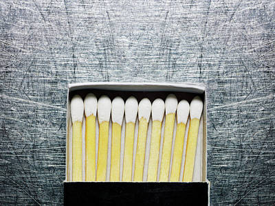 Part Of Photograph - Box Of Wooden Matches On Stainless Steel. by Ballyscanlon