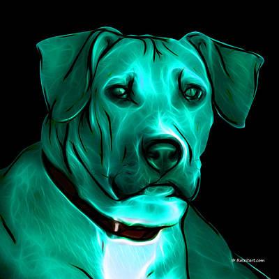 Boxer Pitbull Mix Pop Art - Cyan Print by James Ahn