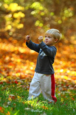Boy In Fall Print by Kevin Schrader