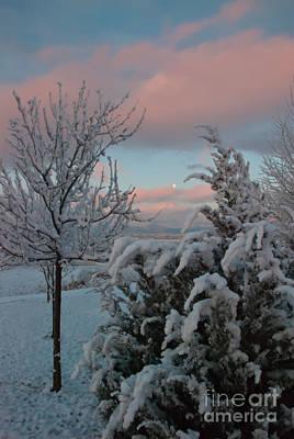 Boyd Lake Winter Moonset Print by Harry Strharsky
