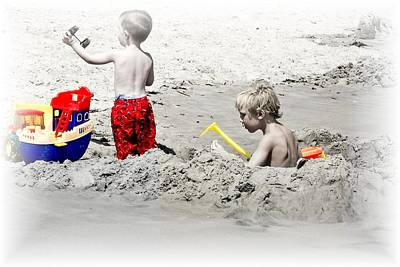 Boys Will Be Boys At The Beach Nj Print by Gwenn Dunlap